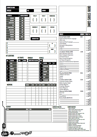 Image of The character sheet